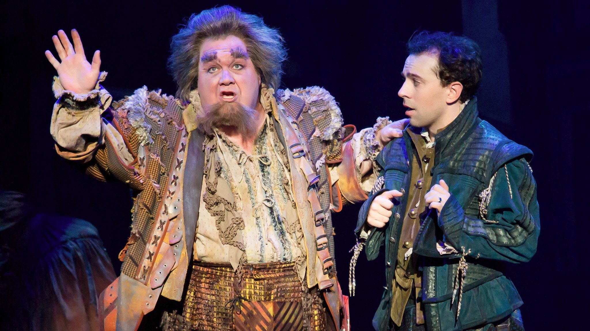 "Blake Hammond, left, and Rob McClure in ""Something Rotten!"" at Segerstrom Center for the Arts."