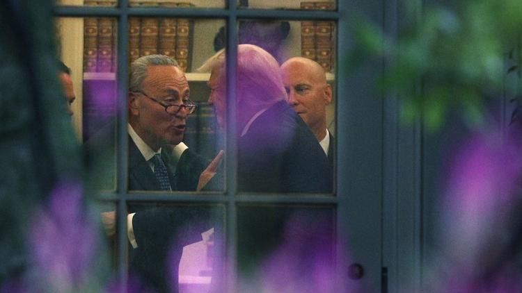 Senate Minority Leader Charles E. Schumer (D-N.Y.) with President Trump in the Oval Office. (Alex Wong / Getty Images)