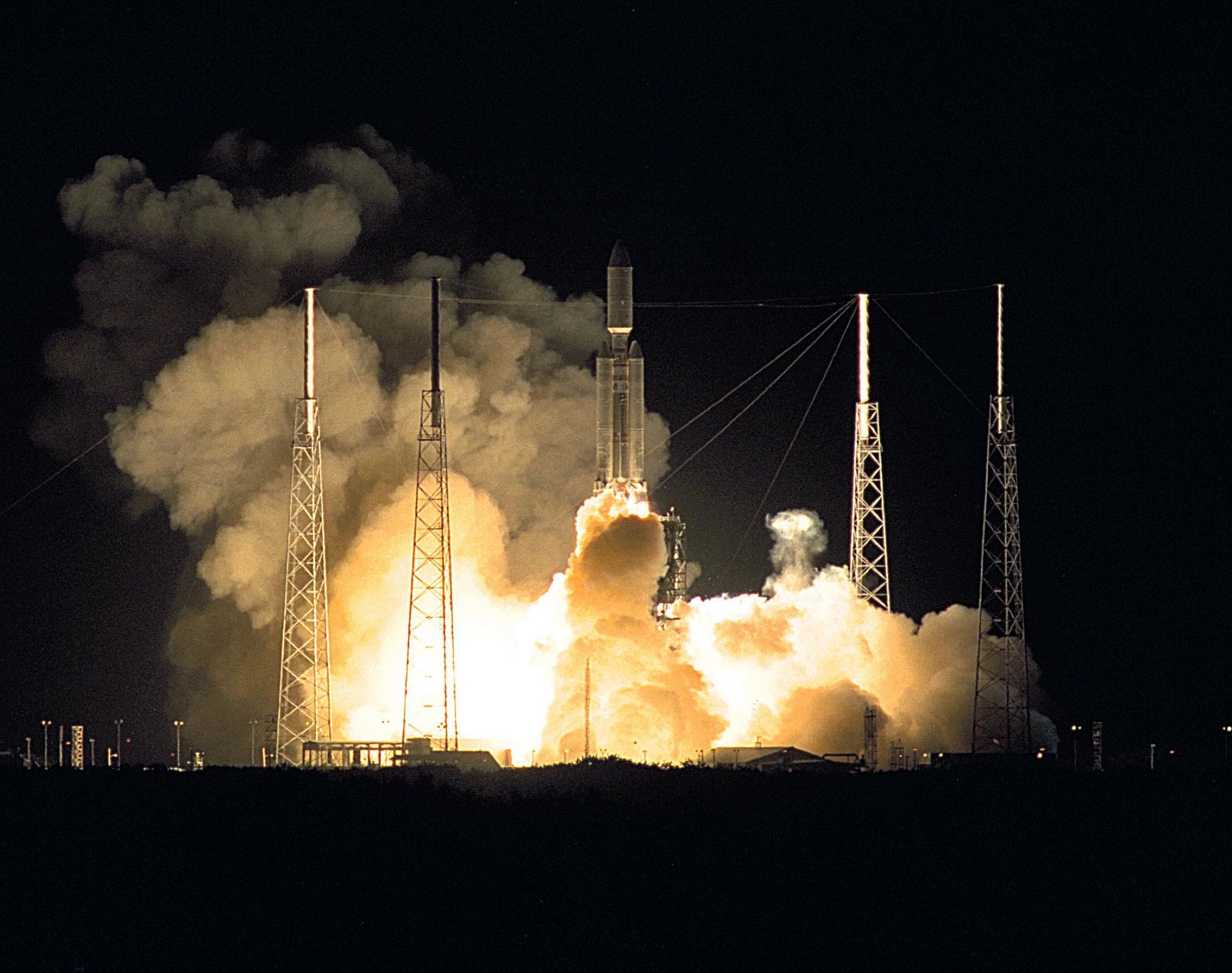Launch of Cassini orbiter and Huygens probe on Titan IV on Oct. 23, 1997.