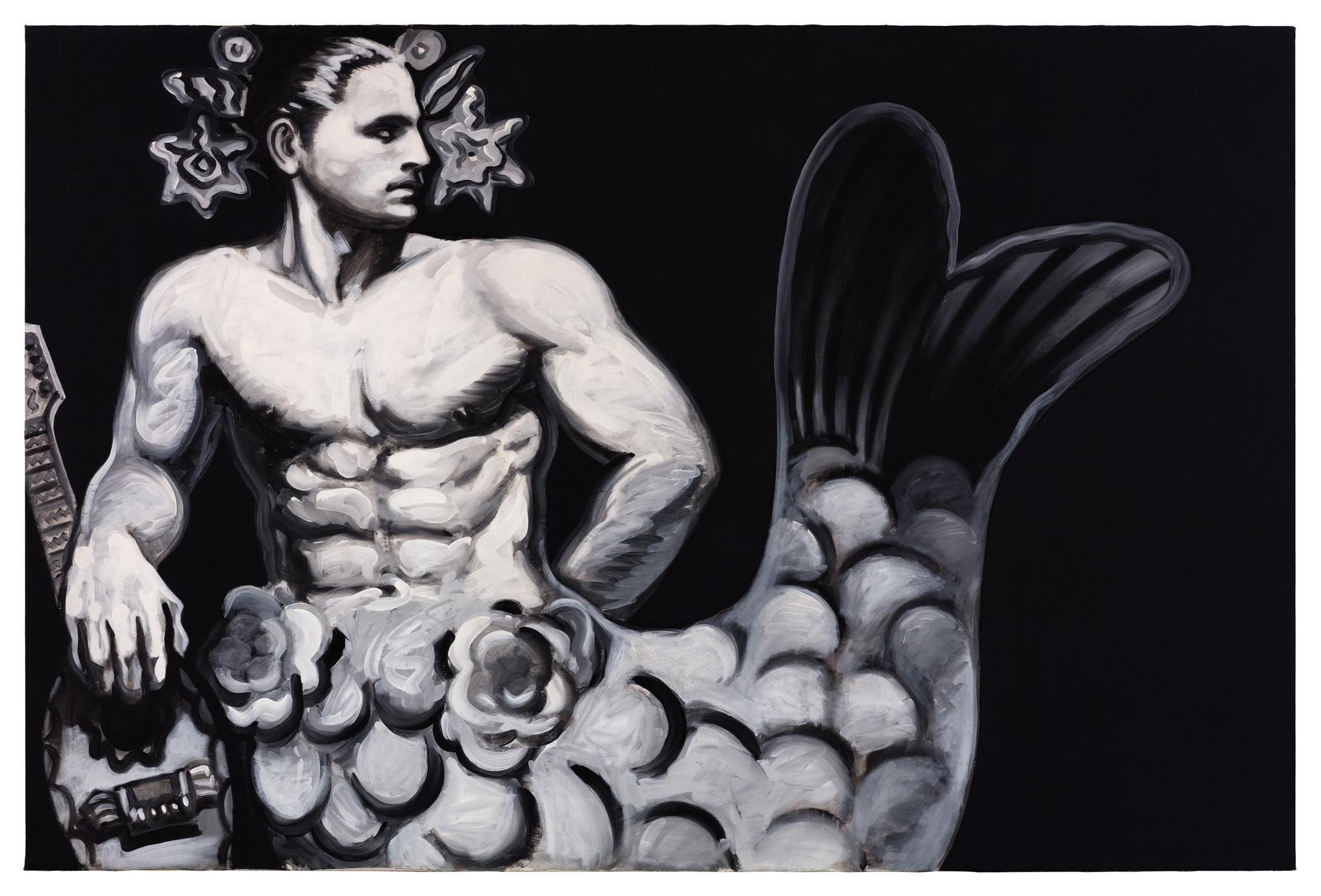 """""""Merman With Mandolin,"""" 1984, by Mundo Meza."""