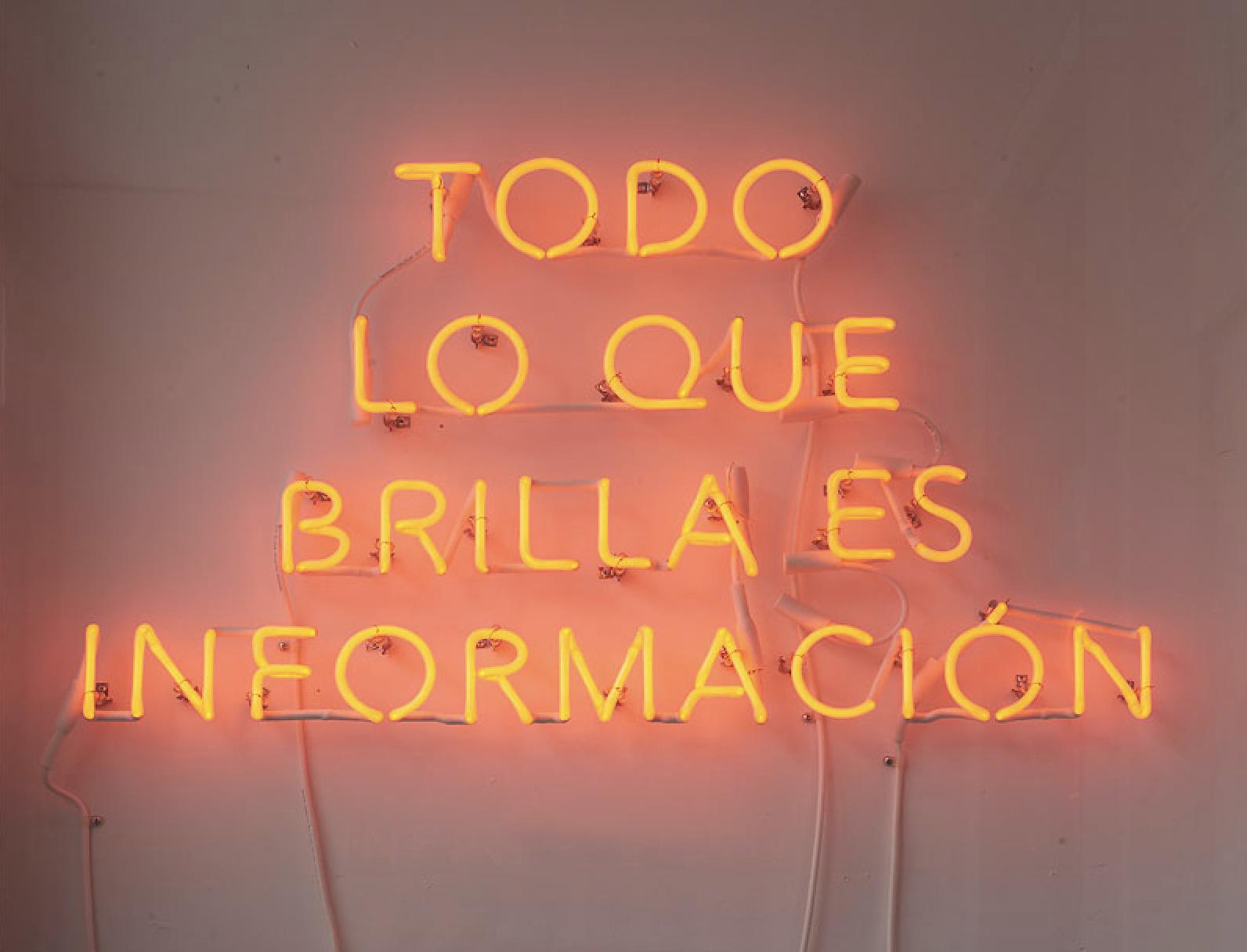 """""""Todo lo que brilla es información."""" 2016, by Adriana Martínez, at the gallery pop-up Ruberta."""
