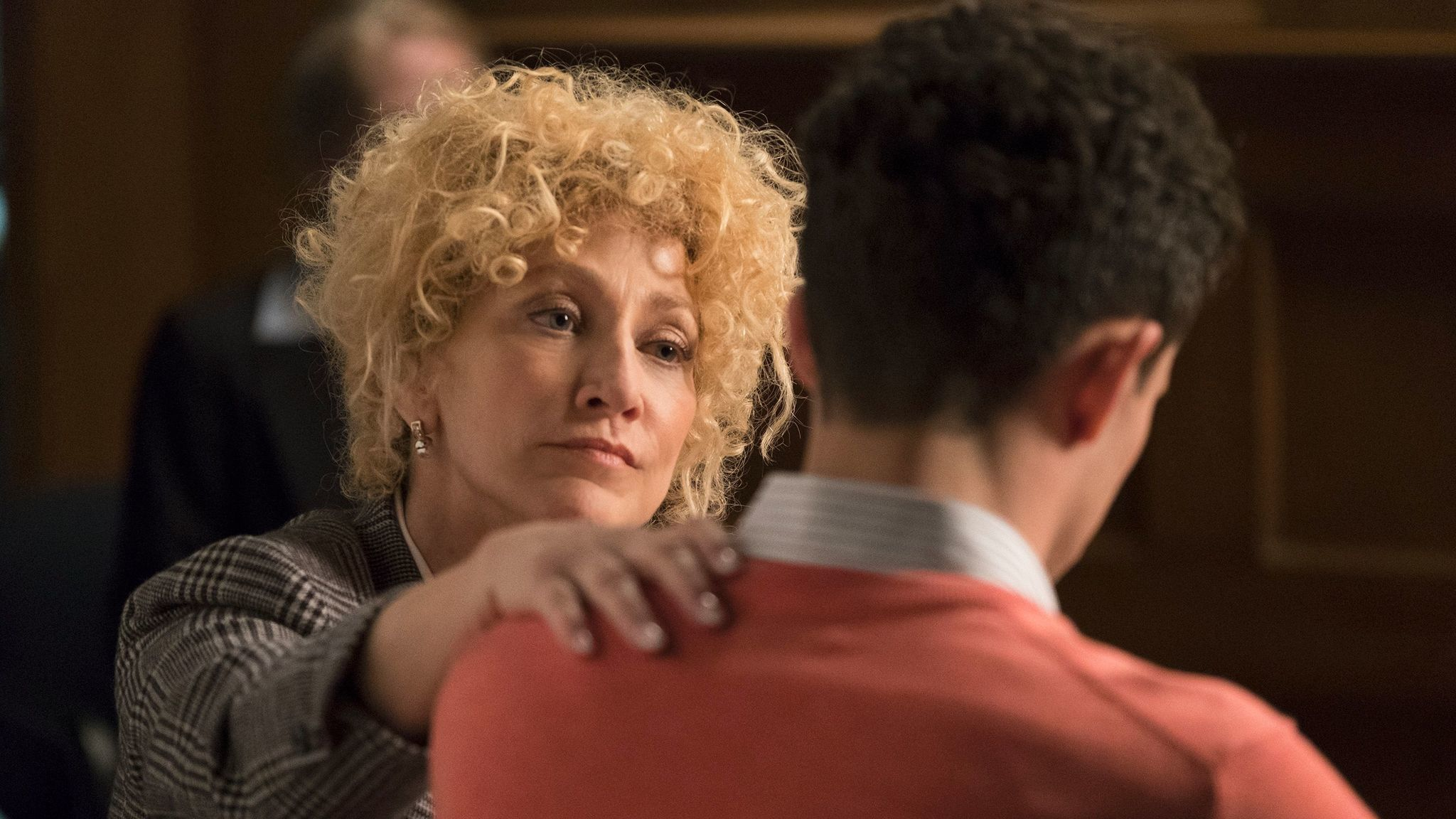 "Edie Falco as Leslie Abramson on ""Law & Order True Crime: The Menendez Murders."""