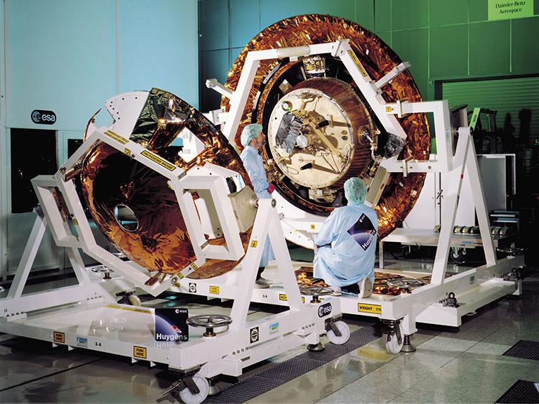 The Huygens probe nestled in its descent module. It flew aboard Cassini.