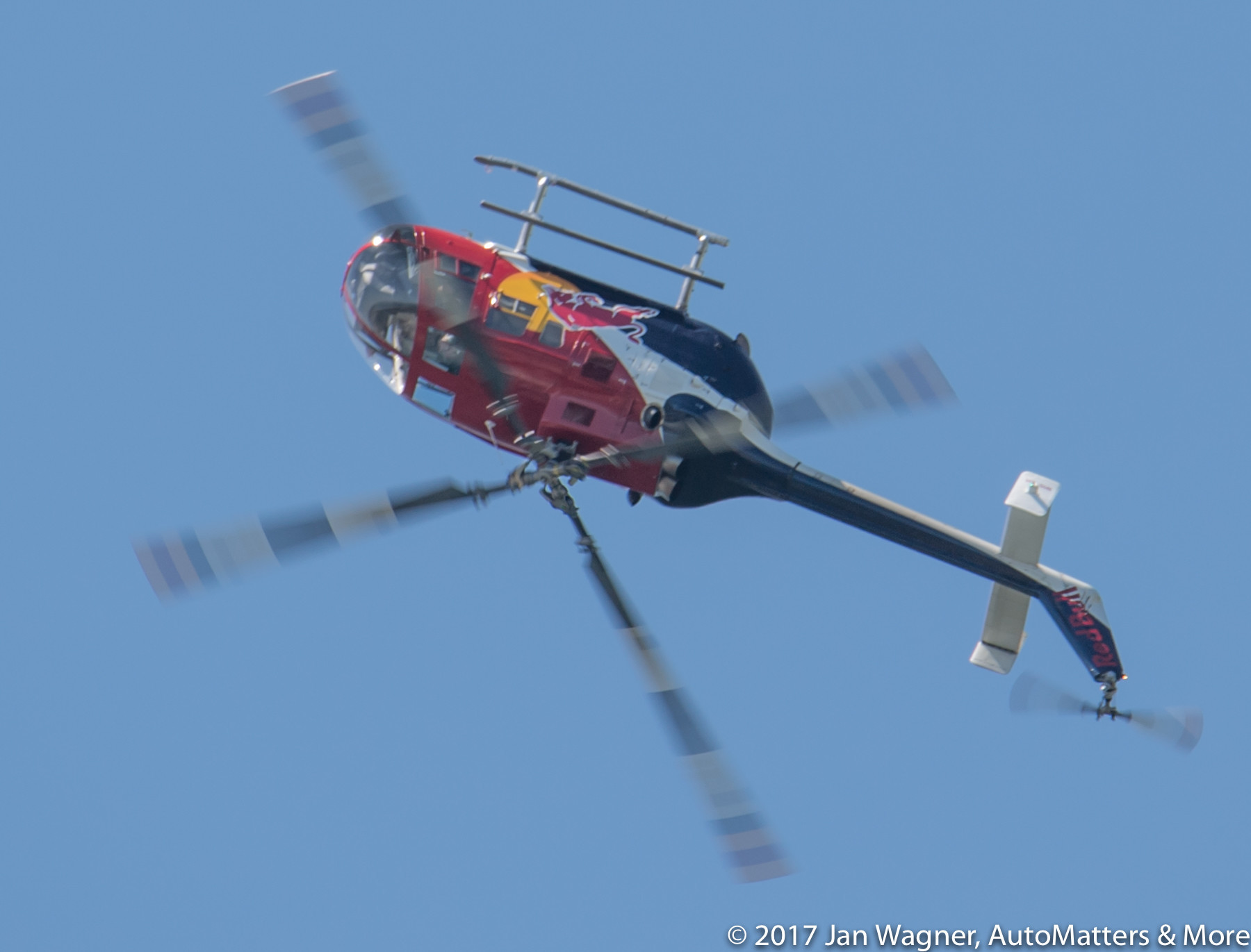 Bo105 aerobatic helicopter demonstration of death-defying looping flight