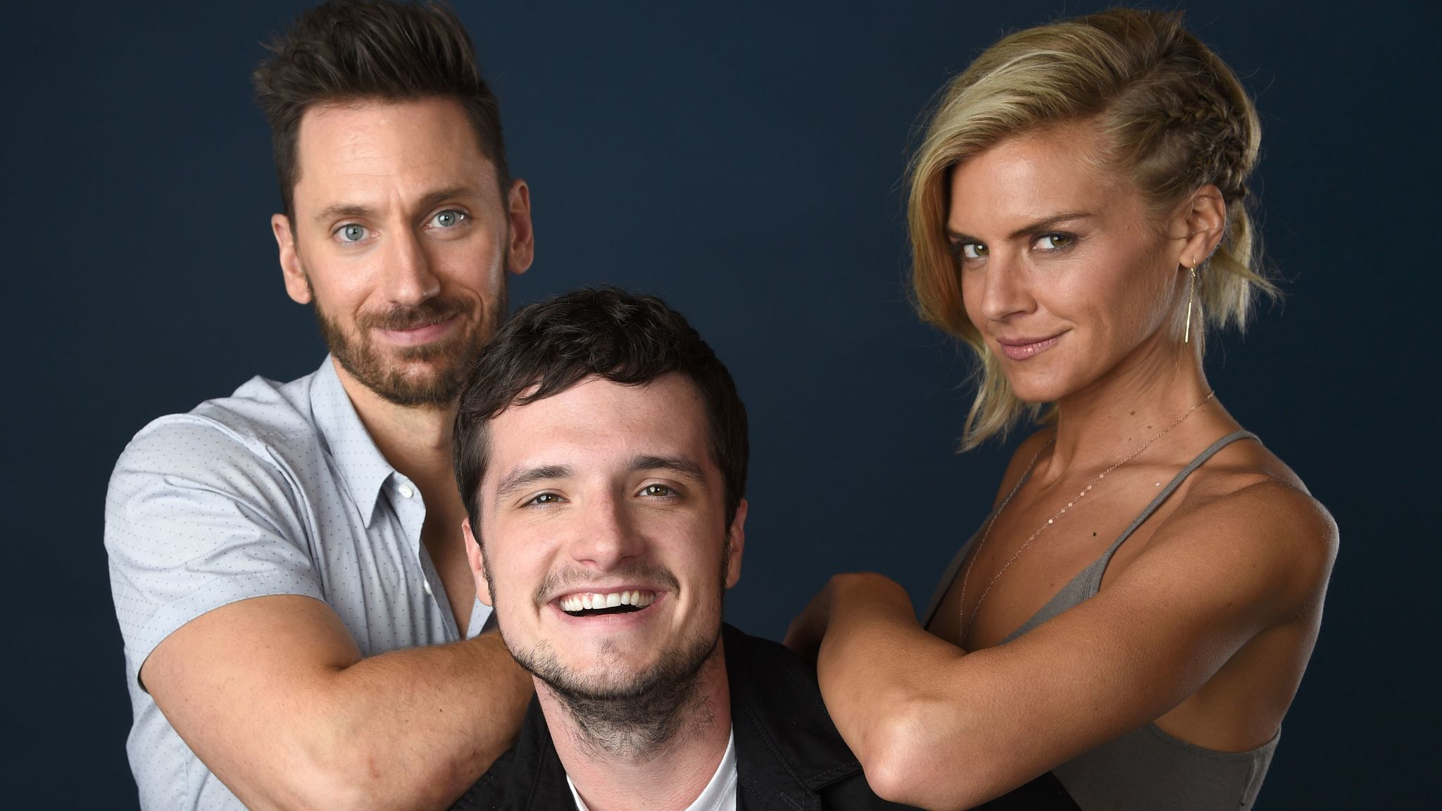 "Derek Wilson, left, Josh Hutcherson and Eliza Coupe star in ""Future Man."""
