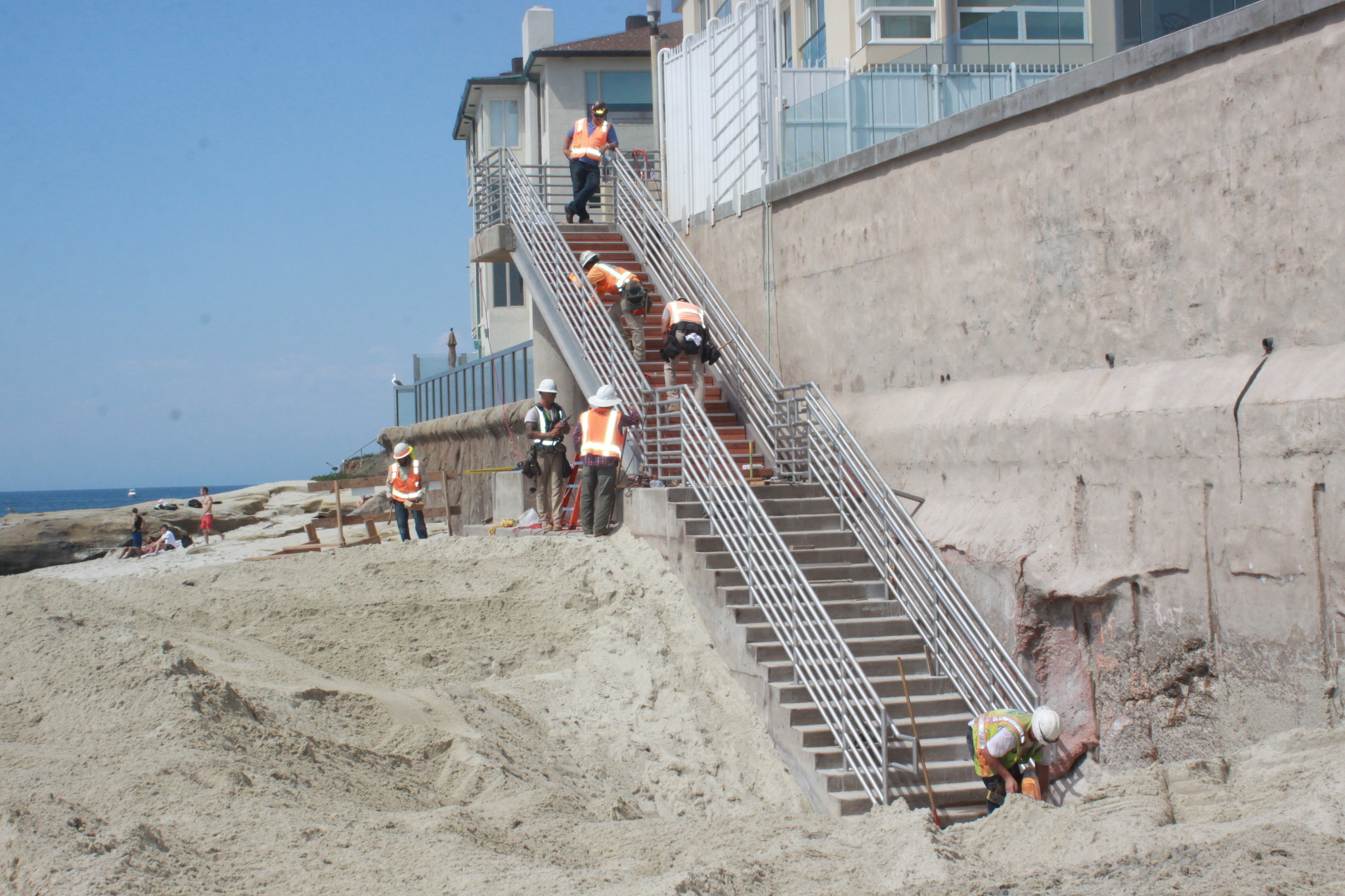 Crews work on the Coast Boulevard stairs to ensure they are open by Labor Day. Photo taken Friday, Sept. 1.