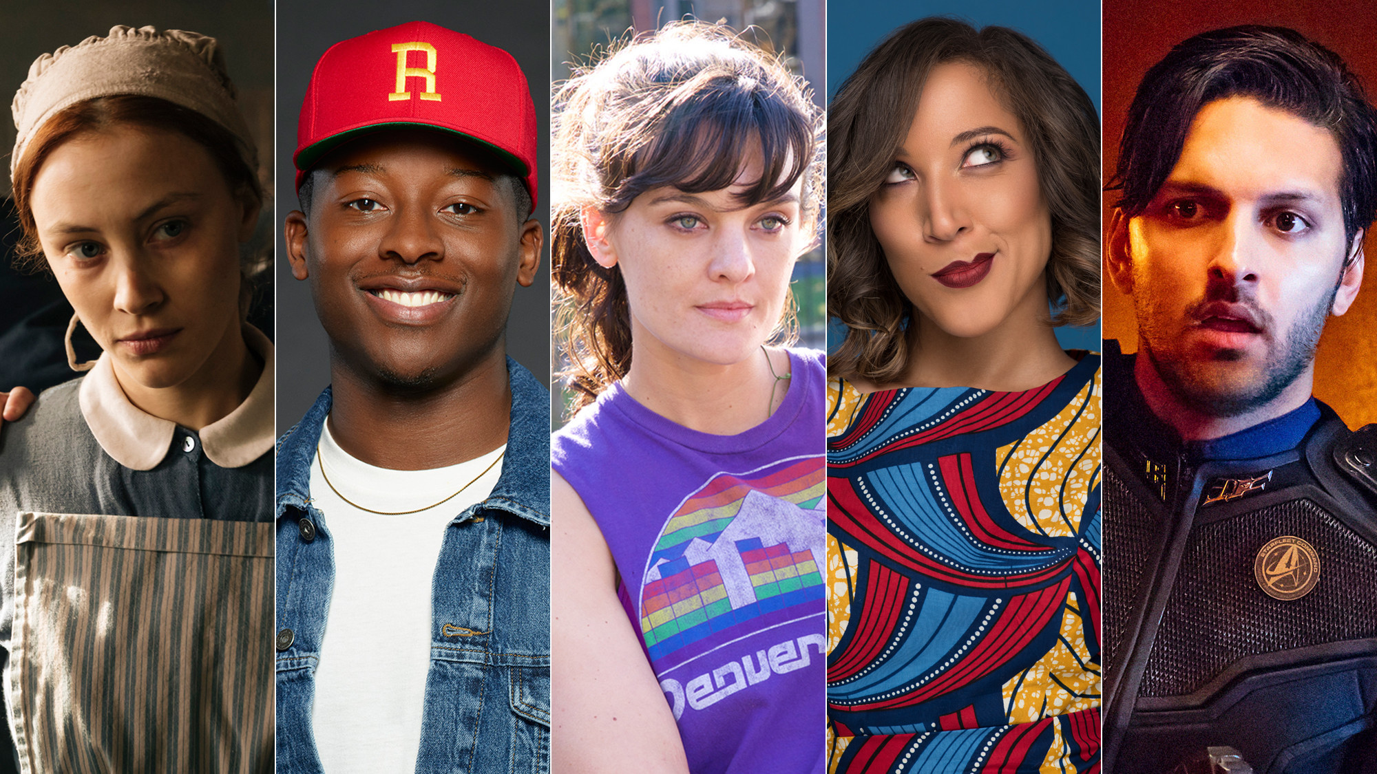 Sarah Gadon, left, Brandon Michael Hall, Frankie Shaw, Robin Thede and Shazad Latif are among the new faces viewers will see on TV this fall. (Netflix; Craig Sjodin / ABC; Mark Schafer / Showtime; BET; Jan Thijs / CBS)