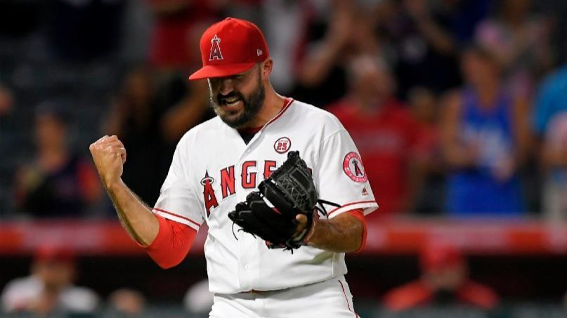 Blake Parker celebrates after the Angels defeated the Oakland Athletics on Aug. 28.