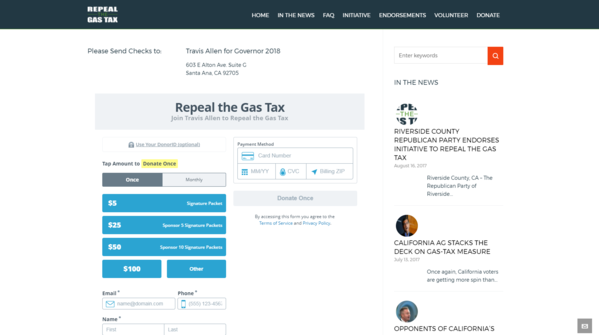 "A screen shot of the website for Assembyman Travis Allen's ""Repeal the Gas Tax Ballot Measure Committee."" The site initially asked donors to make checks payable to ""Travis Allen for Governor 2018."" (Los Angeles Times)"