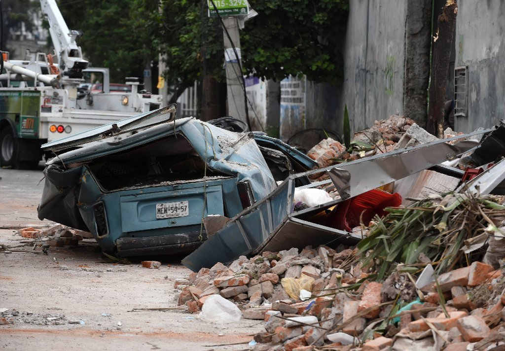 View of a street at the eastern area of Mexico City after a 8.2 earthquake on September 8, 2017.