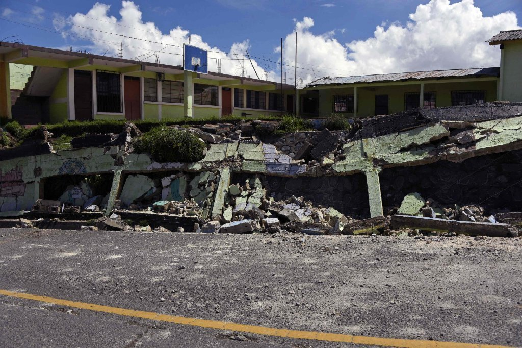View of damages caused by the earthquake, which mainly hit Mexico, in Tacana municipality, San Marcos departament, in the border with Mexico, 320 km from Guatemala City, on September 8, 2017.