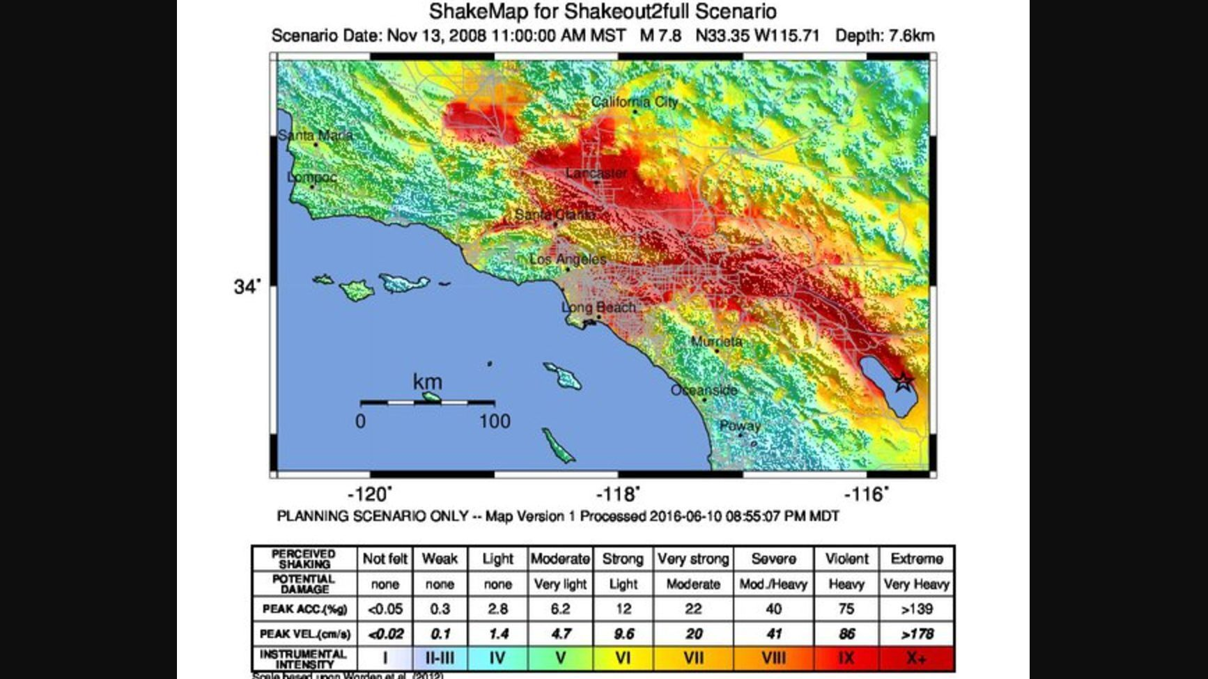 A magnitude 7.8 earthquake would bring intensity level 10 shaking — extreme shaking — to a vast area of Southern California.