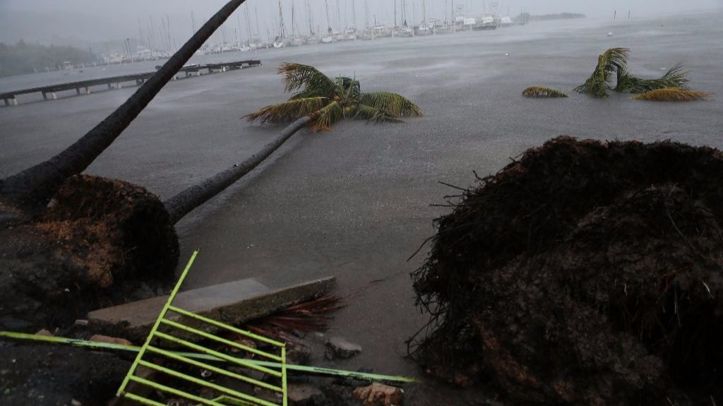 Debris litters a beach Fajardo, Puerto Rico, as Hurricane Irma passes through.