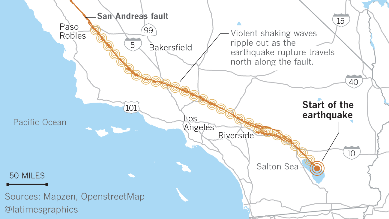 Here's what a hypothetical magnitude 8.2 earthquake would look like in Southern California -- a quake that begins near the Mexican border and moves north and west through Los Angeles County into Central California.