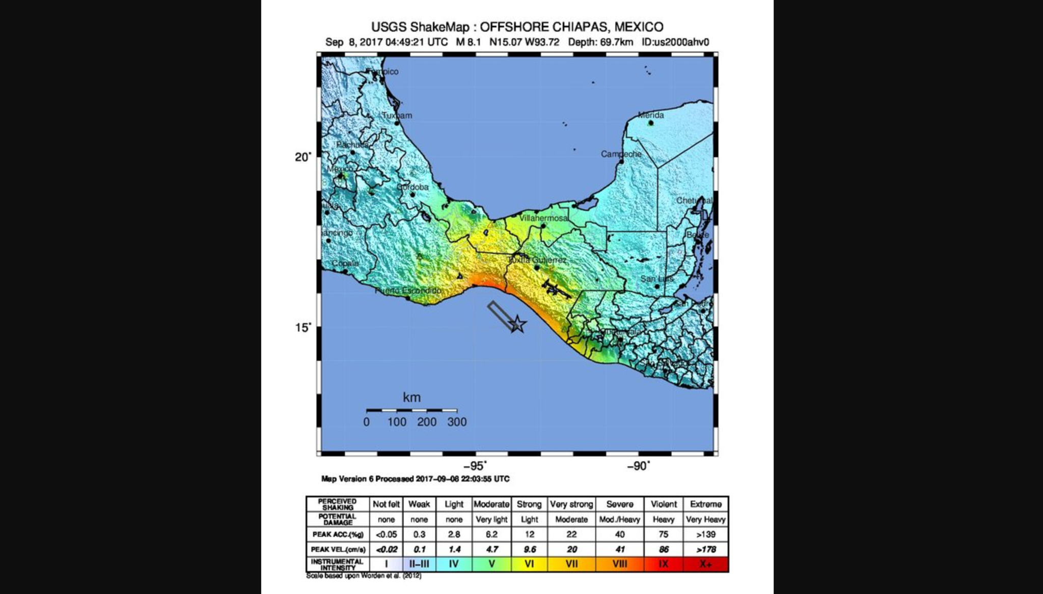 "The worst shaking intensity felt on land was intensity level 9, or ""violent"" shaking, shown in red in this map of Thursday's south Mexico earthquake. The epicenter is noted by the star, and the area of fault that moved is represented by the rectangle."
