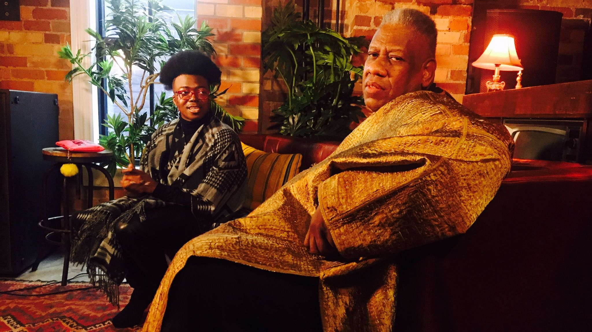 Los Angeles Times writer Tre'vell Anderson, left, speaks with fashion icon André Leon Talley. (Jen Yamato / Los Angeles Times)