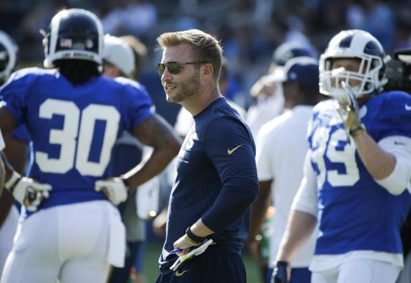 Rams coach Sean McVay stands on the field during a training camp practice on Aug. 5. (Jae C. Hong / Associated Press)