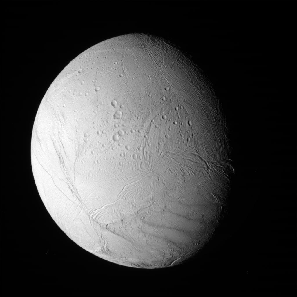 Cassini's view of the southern polar region of Saturn's moon Enceladus.