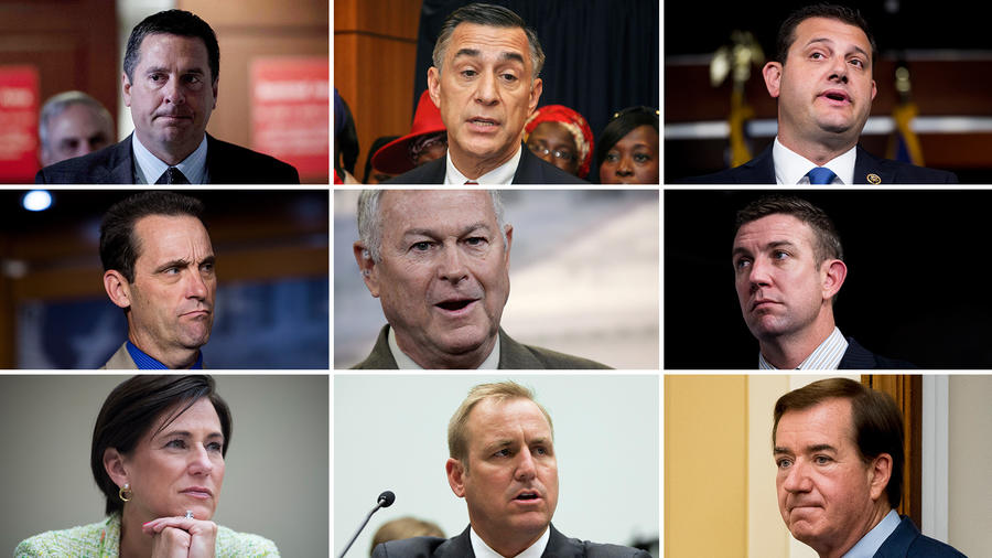 California's GOP House members: top from left, Devin Nunes, Darrell Issa and David Valadao; middle: Steve Knight, Dana Rohrabacher and Duncan Hunter; bottom: Mimi Walters, Jeff Denham and Ed Royce. (Associated Press / AFP/Getty Images)