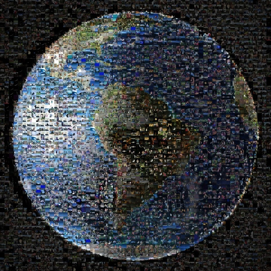 A mosaic image of Earthlings waving at Saturn.