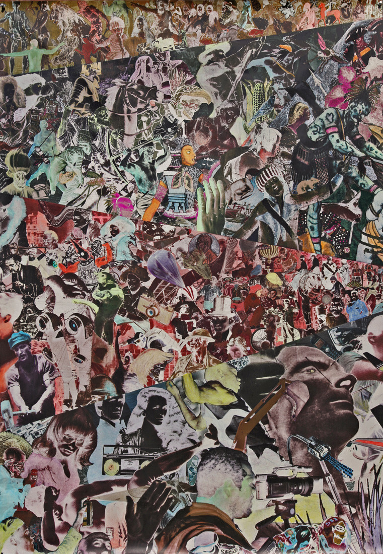"Aaron Morse's ""Timeline Wallpaper Print (Humanity),"" 2011, digital print on vinyl with acrylic and hand painting, 60 inches by 42 inches."