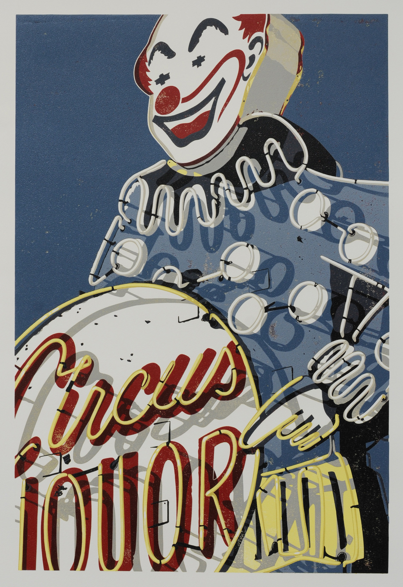 """Dave Lefner's """"Circus Liquor,"""" 2011. Reduction linocut in 10 colors, 30 inches by 20 inches."""