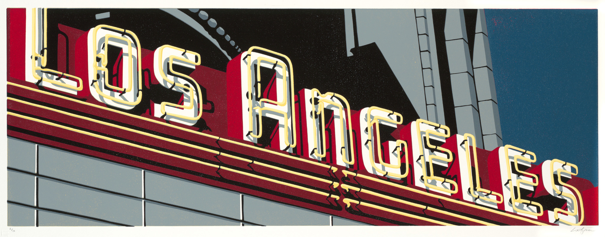 """Dave Lefner's """"The Los Angeles II,"""" 2009. Reduction linocut in eight colors, 13 inches by 36 inches."""