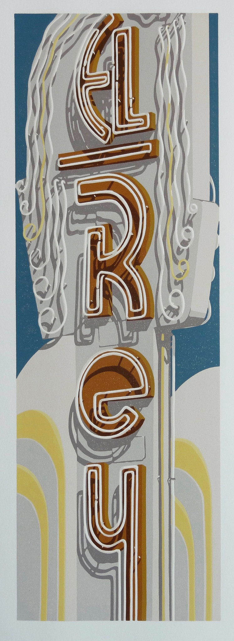 """Dave Lefner's """"The El Rey Theater,"""" 2017. Reduction linocut in nine colors, 24 inches by 8 inches."""