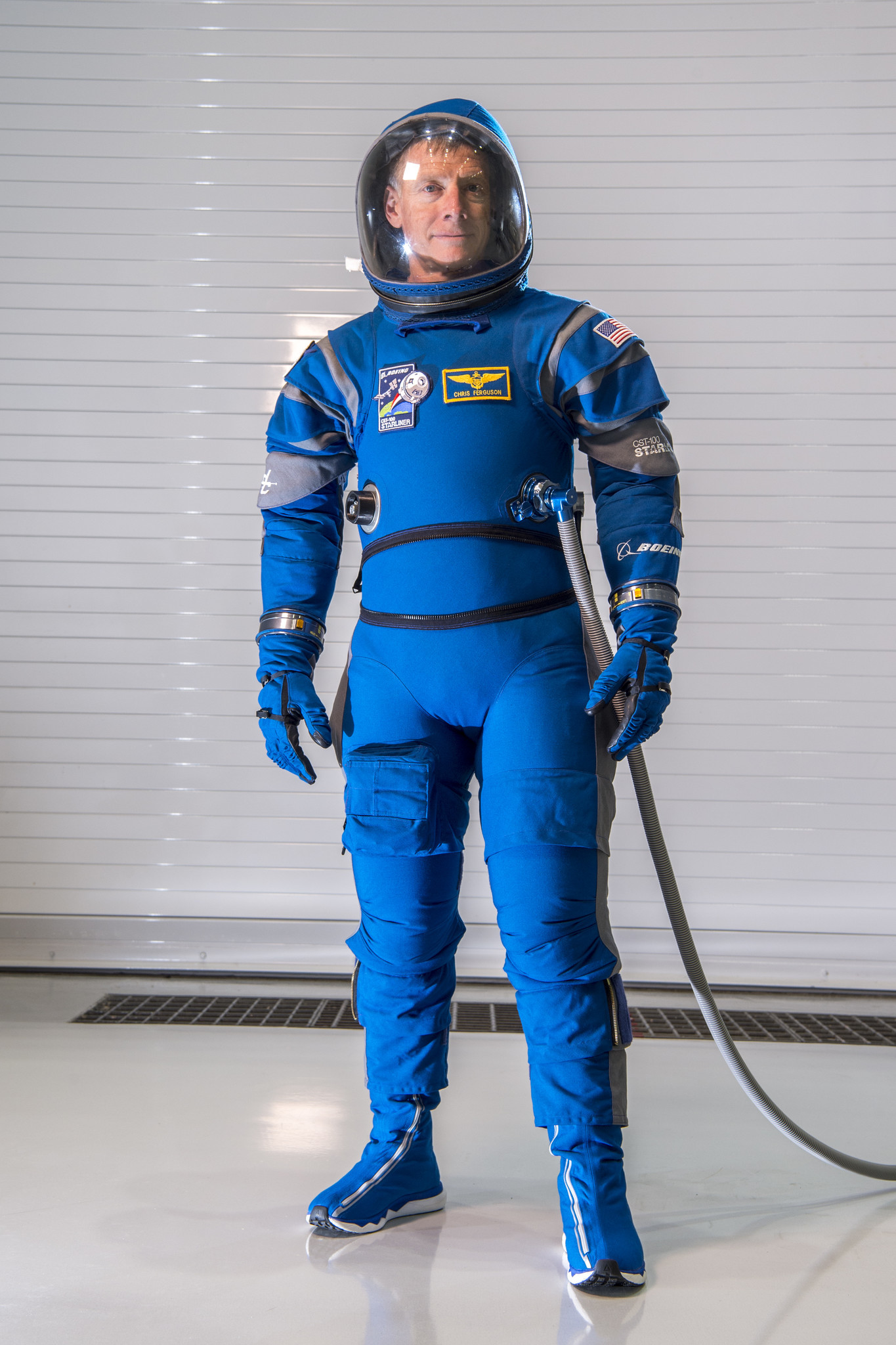 Chris Ferguson, a former NASA astronaut and current Boeing director of Starliner crew and mission systems, wears the Boeing spacesuit.