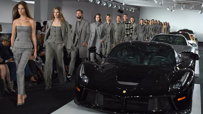 A range of glen plaid, hound's-tooth and herringbone pieces helped tie the racecar motif back to a m