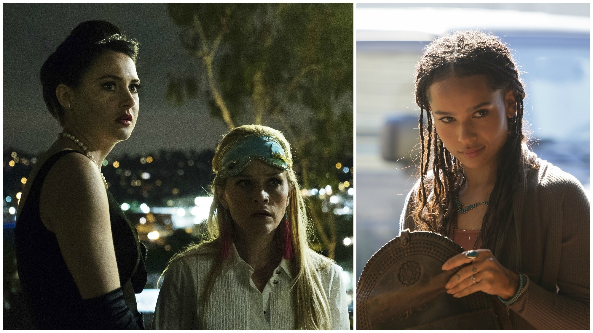 "Shailene Woodley, left, and Reese Witherspoon in a scene from HBO's ""Big Little Lies""; and right, Zoe Kravitz in another scene from the HBO drama."