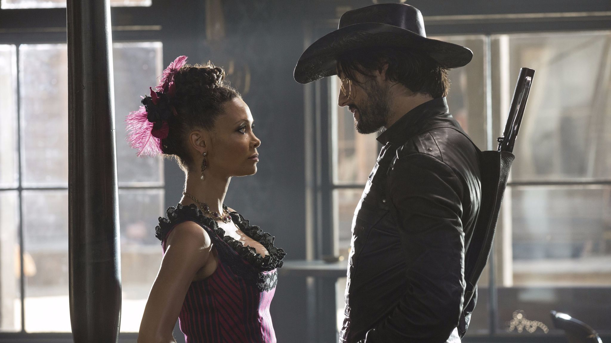 "Thandie Newton as Maeve Milay and Rodrigo Santoro as Hector Escaton in a scene from HBO's ""Westworld."""