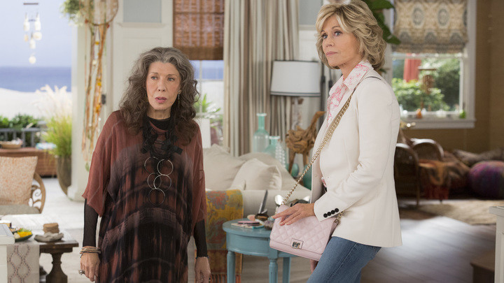 "Lily Tomlin, left, and Jane Fonda in Netflix's ""Grace and Frankie."""
