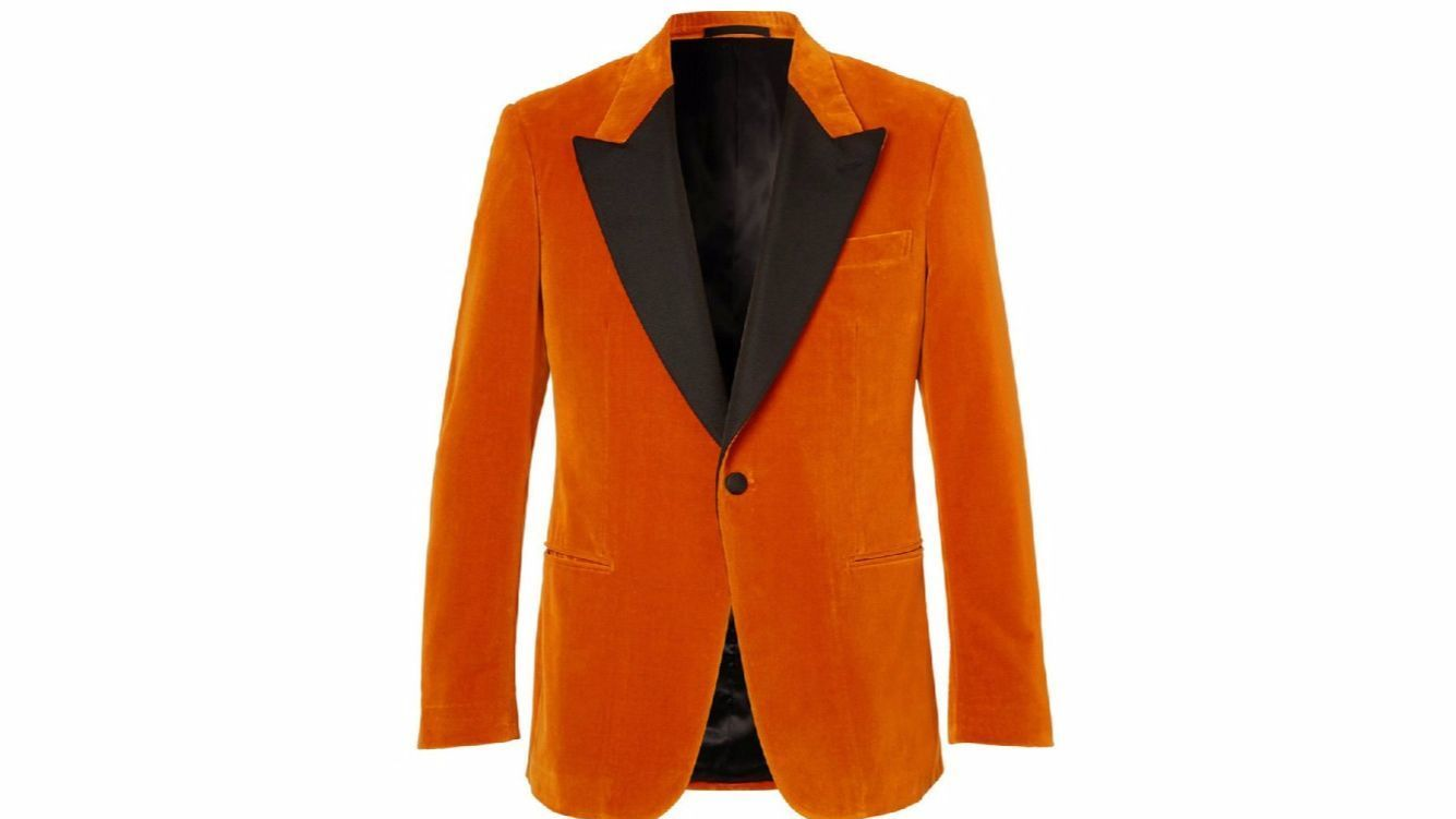 "Pulled from a scene of the upcoming ""Kingsman: The Golden Circle"" is this orange velvet tuxedo jacket created by the film's costume designer and director in a special collection with Mr Porter. The jacket is $1,995 at mrporter.com."