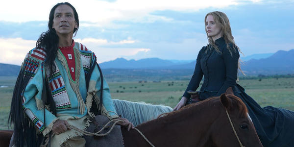 "Jessica Chastain, right, and Michael Greyeyes in ""Woman Walks Ahead."" None"