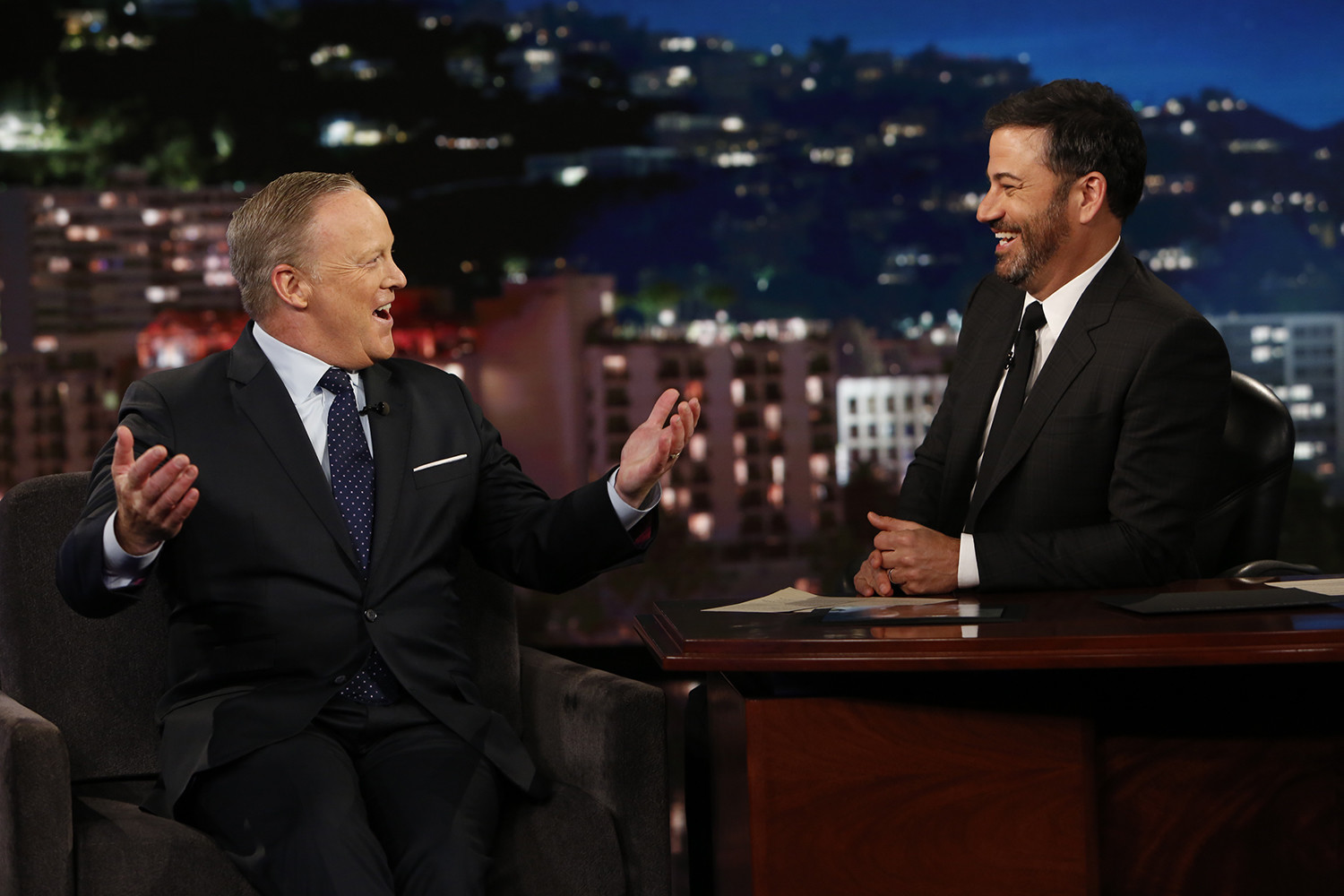 sean spicer pressed gently as jimmy kimmel live guest chicago tribune
