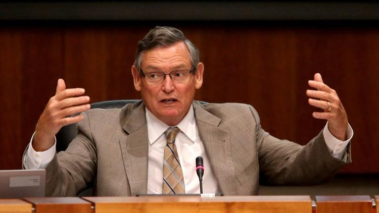 Cal State University Chancellor Timothy P. White speaks during a Board of Trustees meeting in July. (Allen J. Schaben / Los Angeles Times)