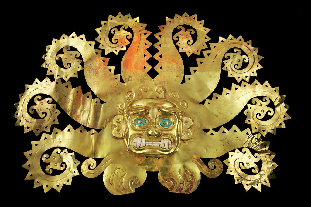 "An octopus frontlet from AD 300-600 by the Moche people of northern Peru, in ""Golden Kingdoms"" at the Getty Museum."