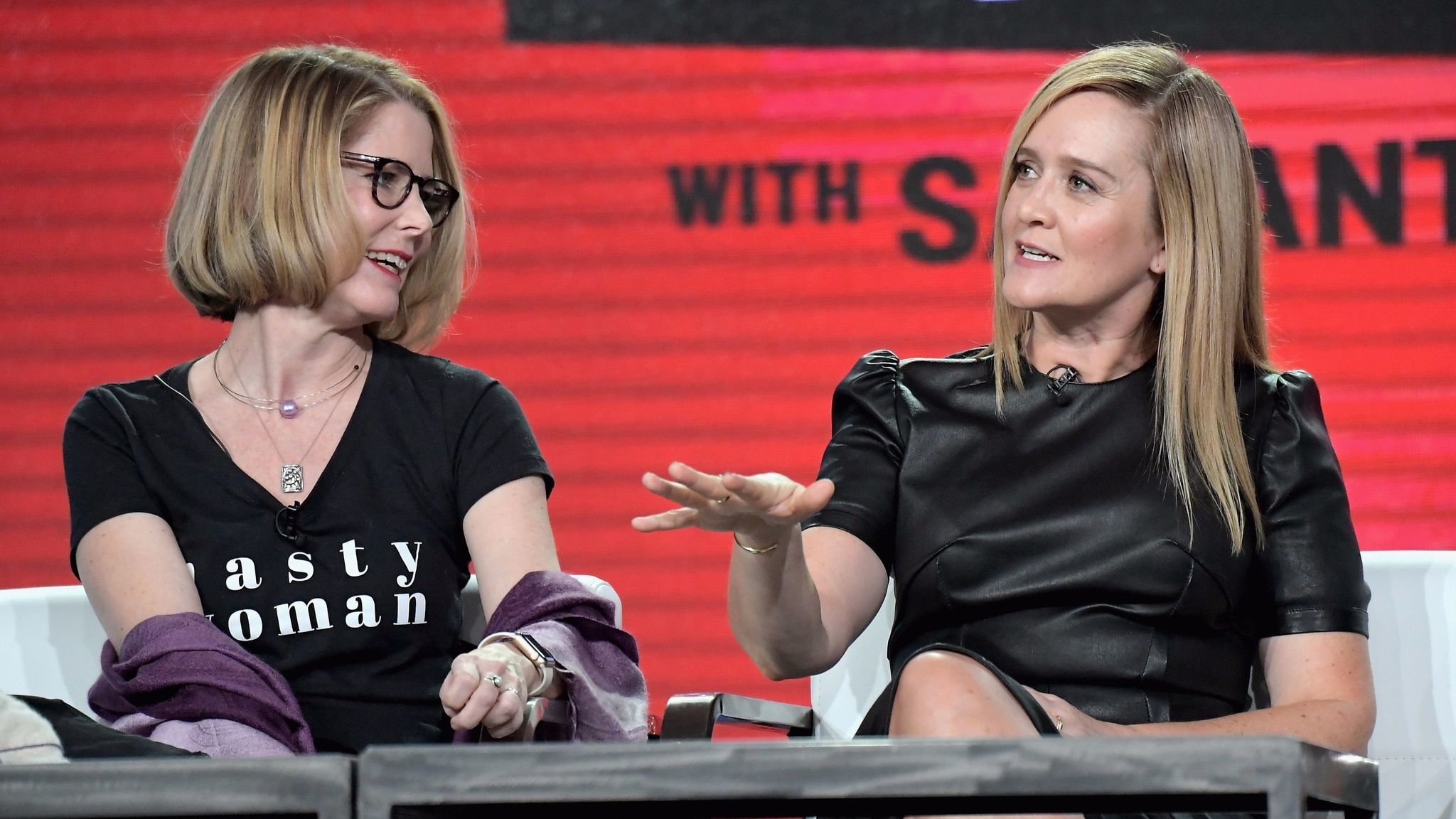 "Executive producer/showrunner/writer Jo Miller, left, and host/executive producer Samantha Bee of ""Full Frontal with Samantha Bee."" (Charley Gallay / Getty Images for Turner)"