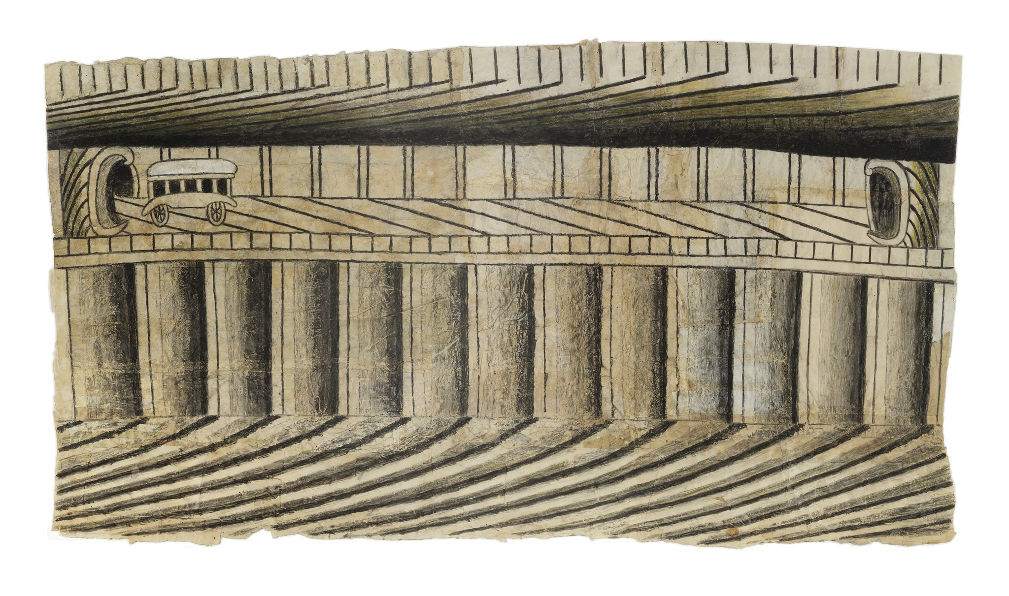 """Martín Ramírez, """"Untitled (Vehicle and Tunnel),"""" no date; gouache, colored pencile, graphite on paper."""