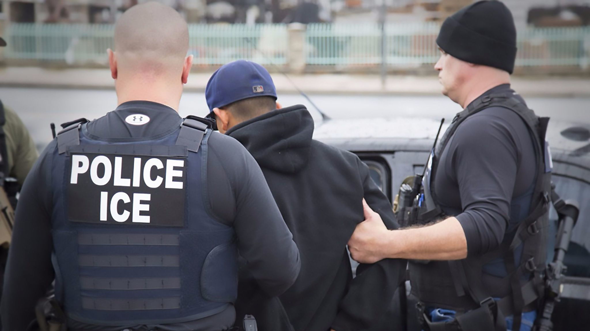 U.S. Immigration and Customs Enforcement officers detain a suspect during an enforcement operation in February 2017 in Los Angeles.