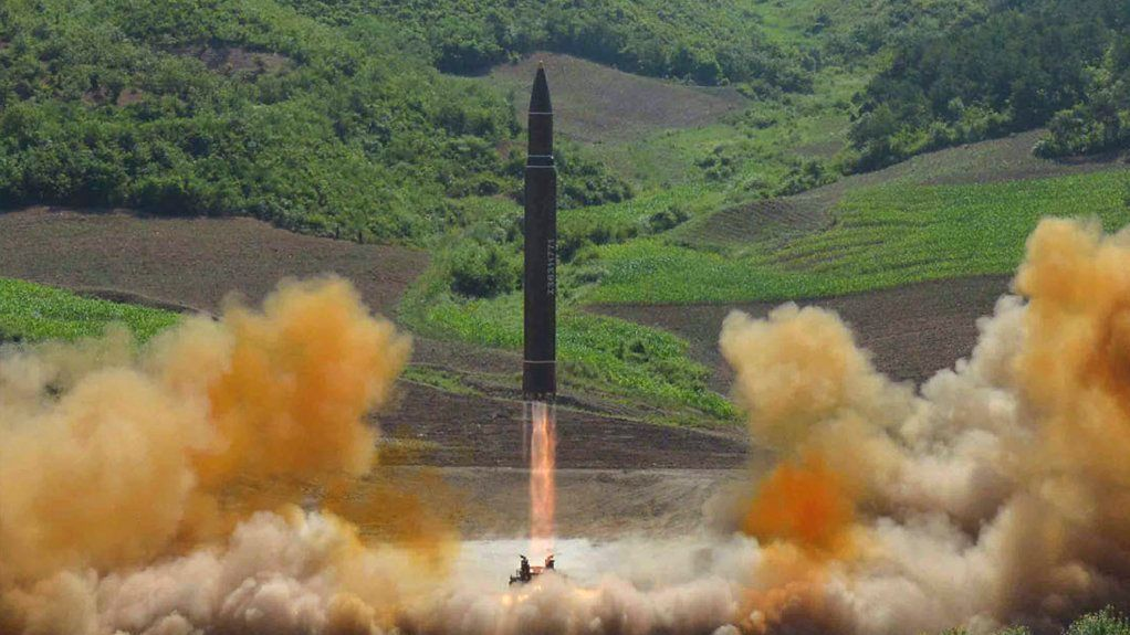 This photo distributed by the North Korean government shows what was said to be the launch of a Hwasong-14 intercontinental ballistic missile, ICBM, in North Korea's northwest, Tuesday, July 4, 2017.