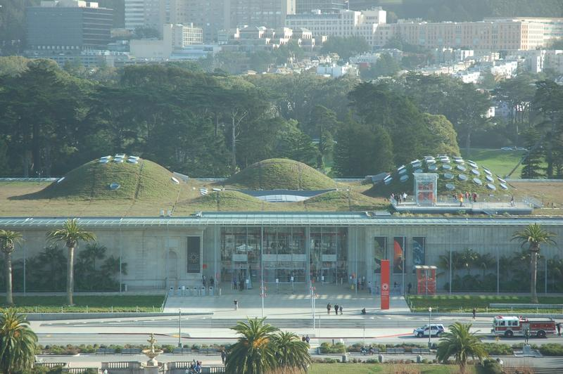 California Academy of Sciences, seen from the De Young Museum's observation tower. (Christopher Reynolds / Los Angeles Times)
