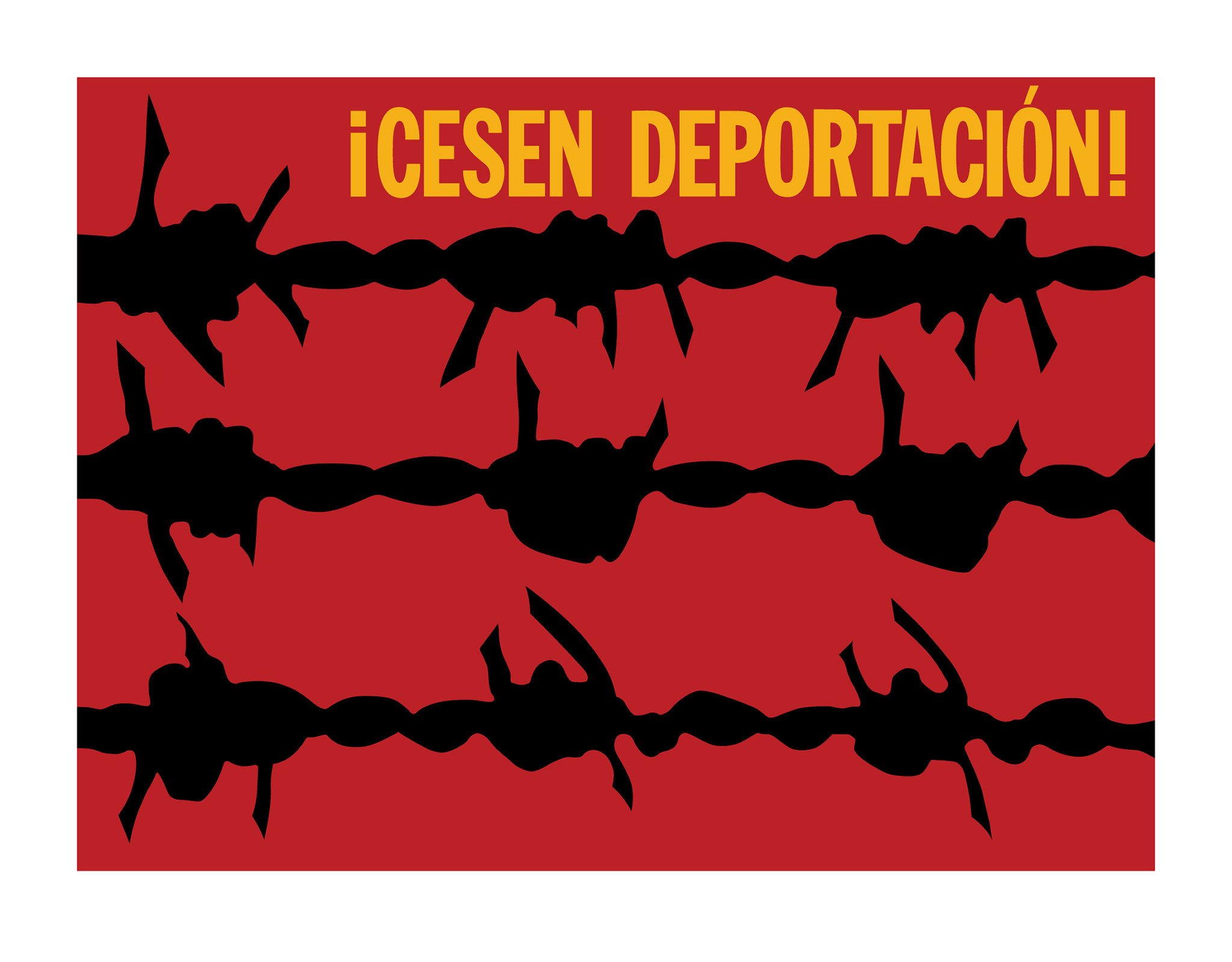 """¡Cesen Deportación,"" a screenprint from 2011, based on a design from 1973, by Rupert García, at the Craft & Folk Art Museum."