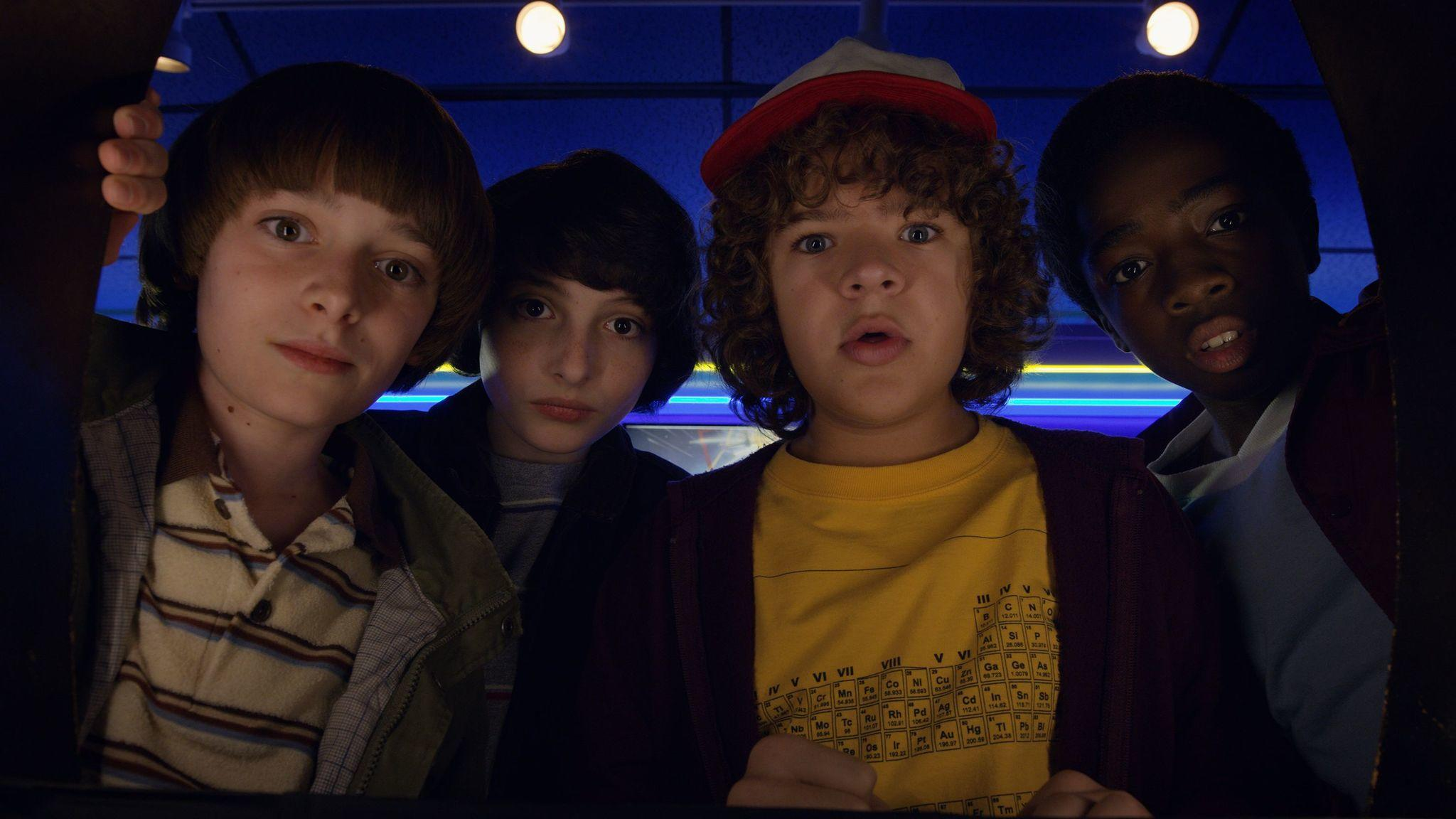 "From left: Noah Schnapp, Finn Wolfhard, Gaten Matarazzo and Caleb McLaughlin in ""Stranger Things."" (Netflix)"