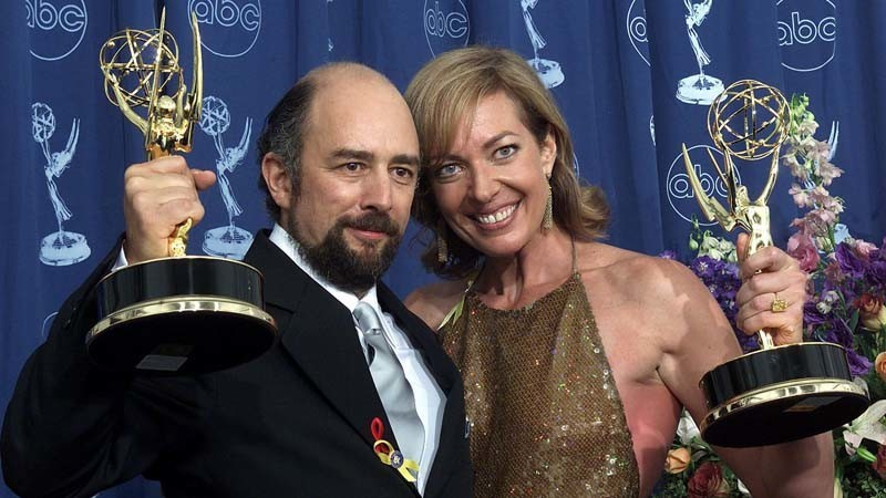 "The Emmys Robert Schiff and Allison Janney won in 2000 were among the nine ""The West Wing"" took home for its first season. (Scott Nelson / AFP / Getty Images)"