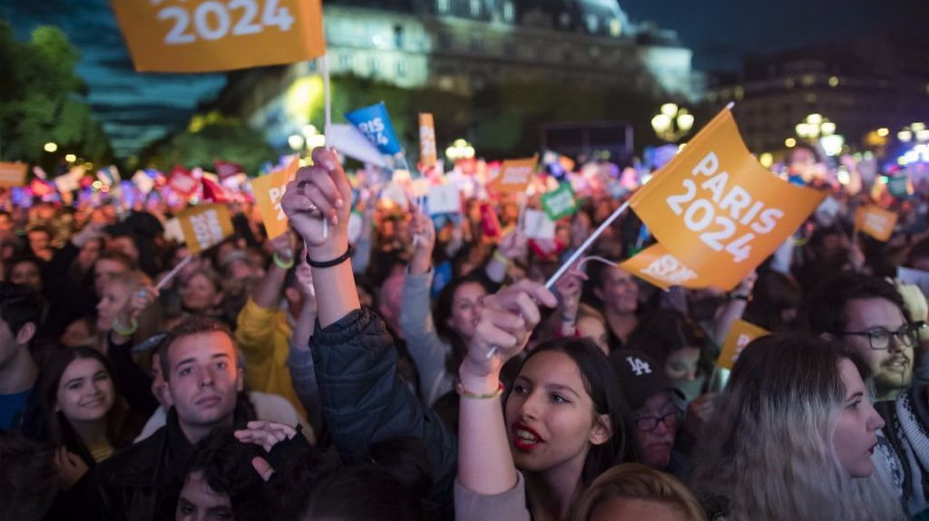 People gather for a celebratory concert in Paris on Sept. 15 after the city won its bid for the 2024 Olympic Games.