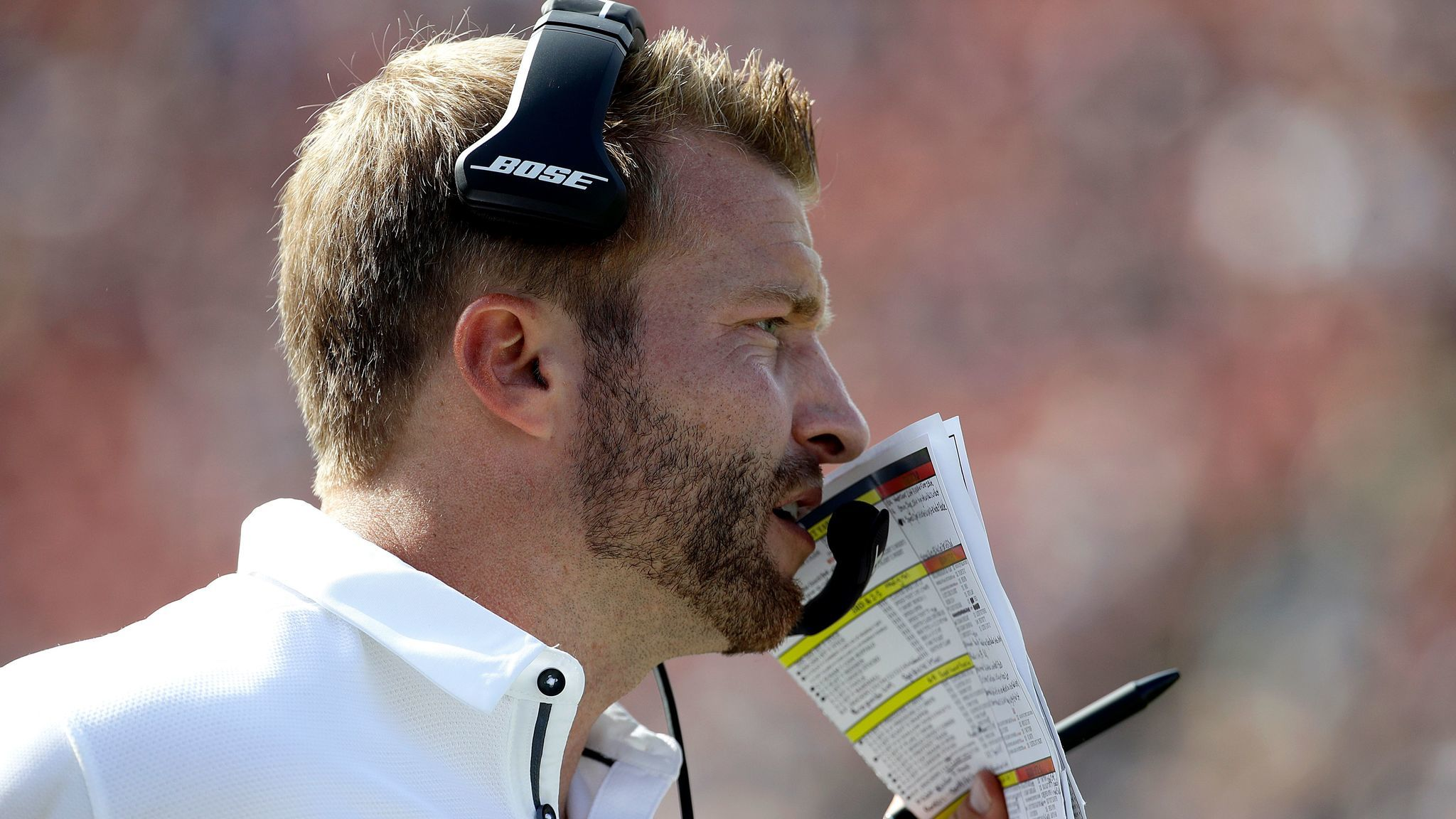 Rams coach Sean McVay is seen during a game against the Colts at the Coliseum. (Alex Gallardo / Associated Press)