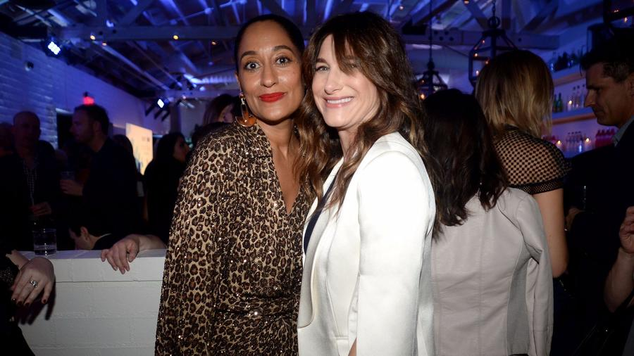 Emmy nominees Tracee Ellis Ross, left, and Kathryn Hahn attend the Variety and Women in Film 2017 Television annual nominee party at Gracias Madre in West Hollywood. (Andreas Branch / Variety / REX / Shutterstock)