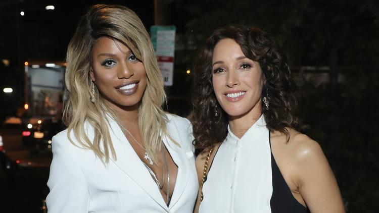 Emmy nominee Laverne Cox, left, and Jennifer Beals at Entertainment Weekly party. (Neilson Barnard / Getty Images for Entertainment Weekly)